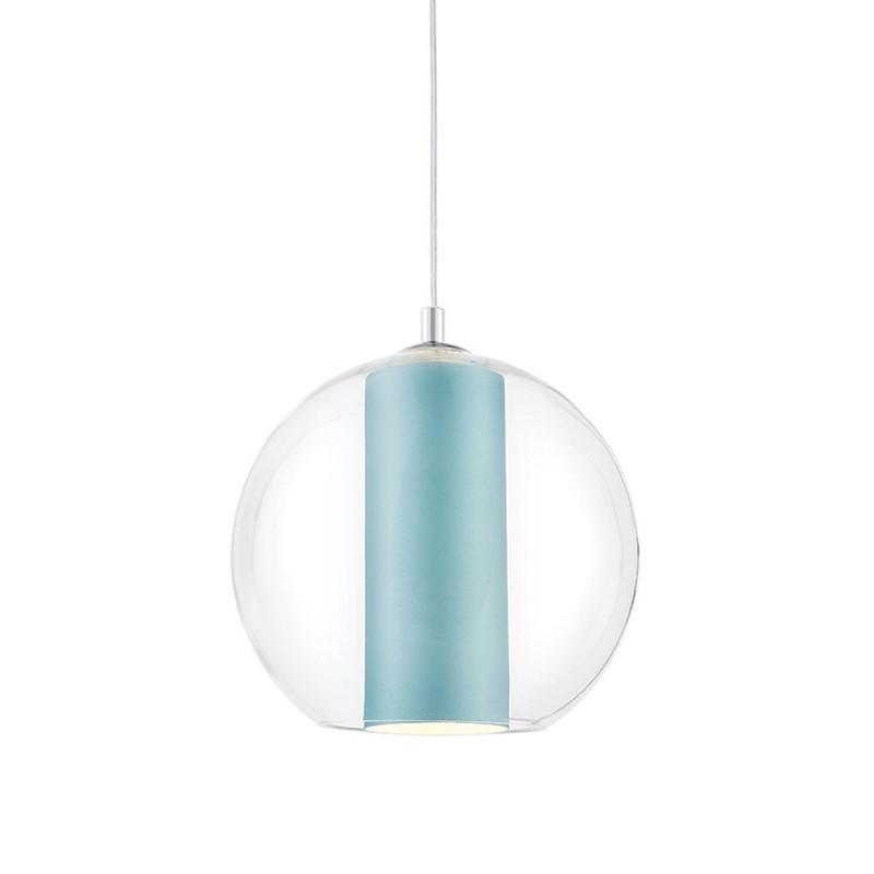 Sufitowa lampa wisząca MERIDA M jasny morski abażur w transparentnym szklanym kloszu KASPA