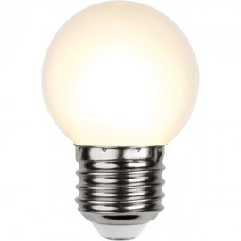 Plastic festoon light bulb LED 45mm 1W milky white warm light