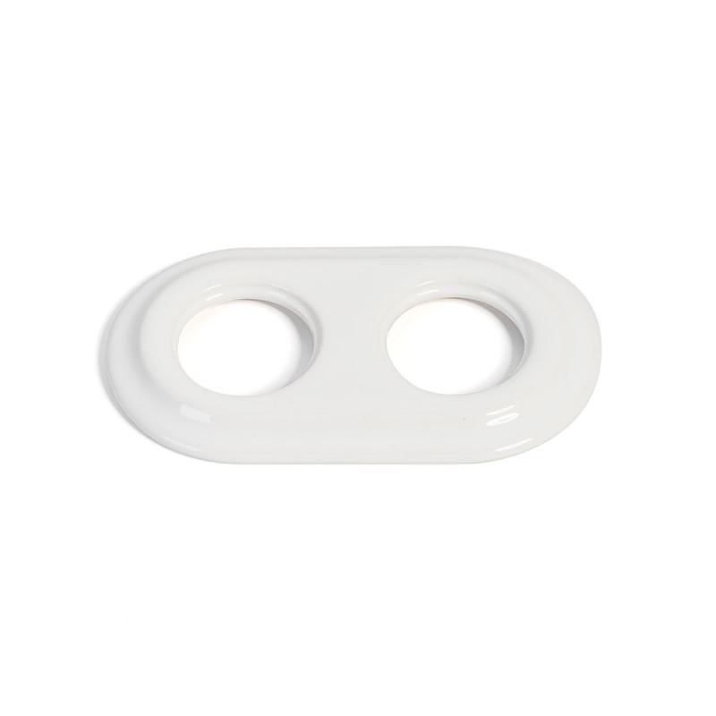 Rustic ceramic frame for flush-mounted equipment - double white frame Kolorowe Kable