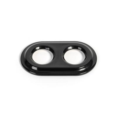 Rustykalna ceramiczna ramka do osprzętu podtynkowego - ramka podwójna czarna Kolorowe Kable