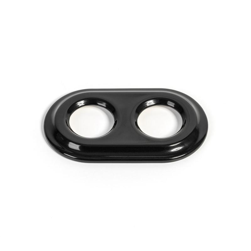 Rustic ceramic frame for flush-mounted equipment - double black frame Kolorowe Kable