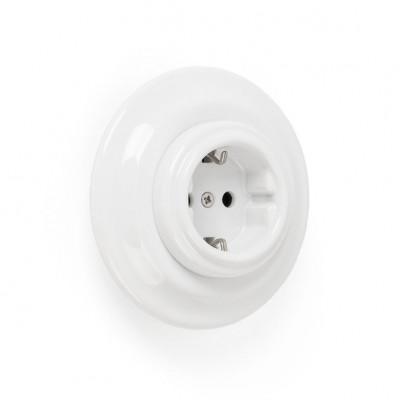 Rustykalne ceramiczne gniazdo podtynkowe w stylu retro - białe bez ramki Kolorowe Kable