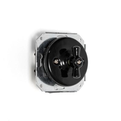 Rustykalny ceramiczny włącznik światła świecznikowy w stylu retro - włącznik podtynkowy czarny bez ramki Kolorowe Kable