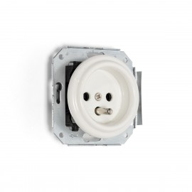 Rustic ceramic flush-mounted socket in retro style with grounding pin - white Kolorowe Kable