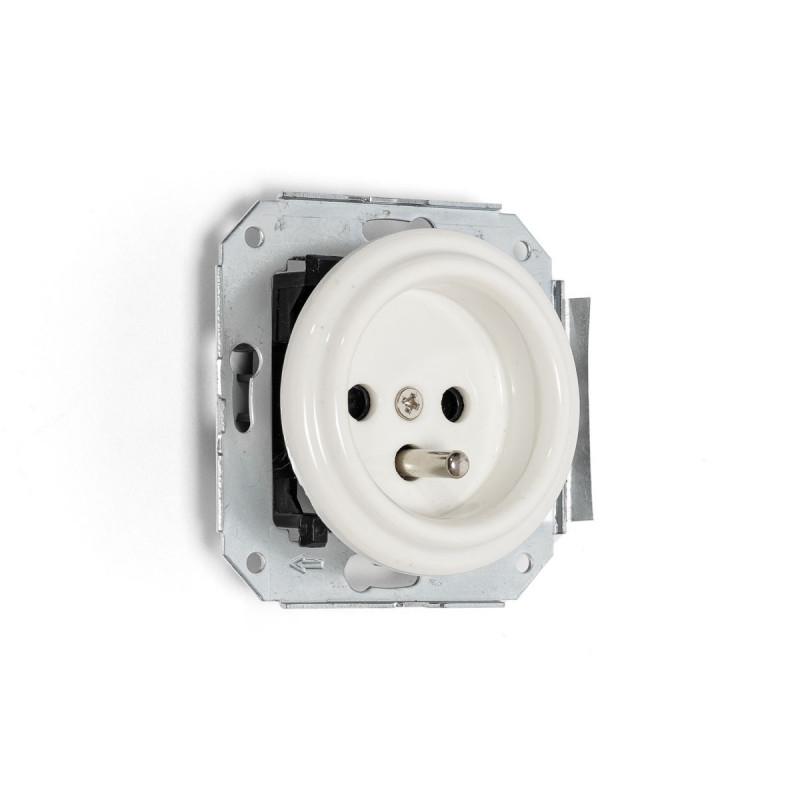 Rustic ceramic flush-mounted socket in retro style with grounding pin - white Kolorowe Kable