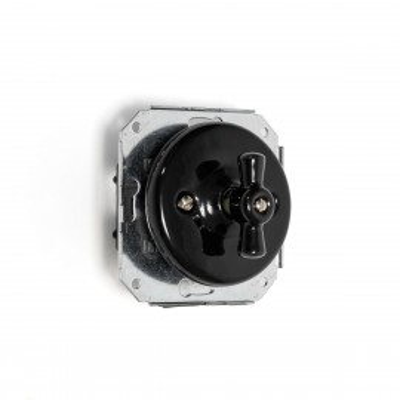 Rustykalny ceramiczny podtynkowy włącznik światła schodowy, w stylu retro - czarny bez ramki Kolorowe Kable