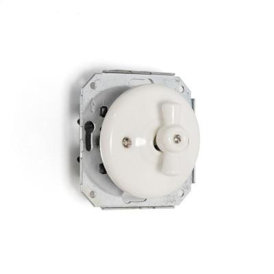 Rustykalny ceramiczny podtynkowy włącznik światła schodowy w stylu retro - biały bez ramki Kolorowe Kable