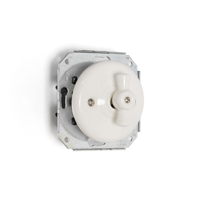 Rustic ceramic recessed light switch single, retro style - white Kolorowe Kable