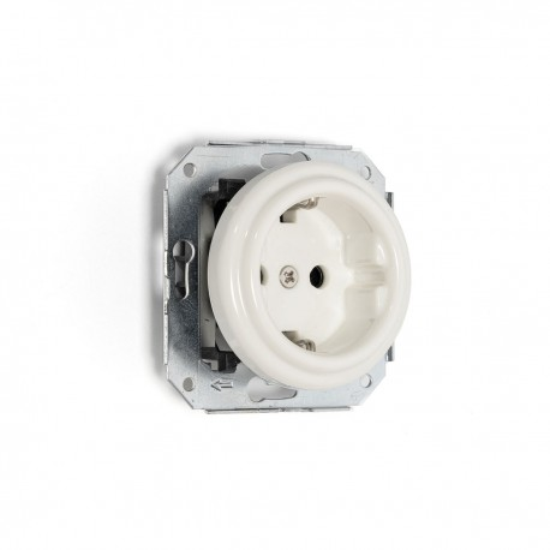 Rustic ceramic flush-mounted socket in retro style - white Kolorowe Kable