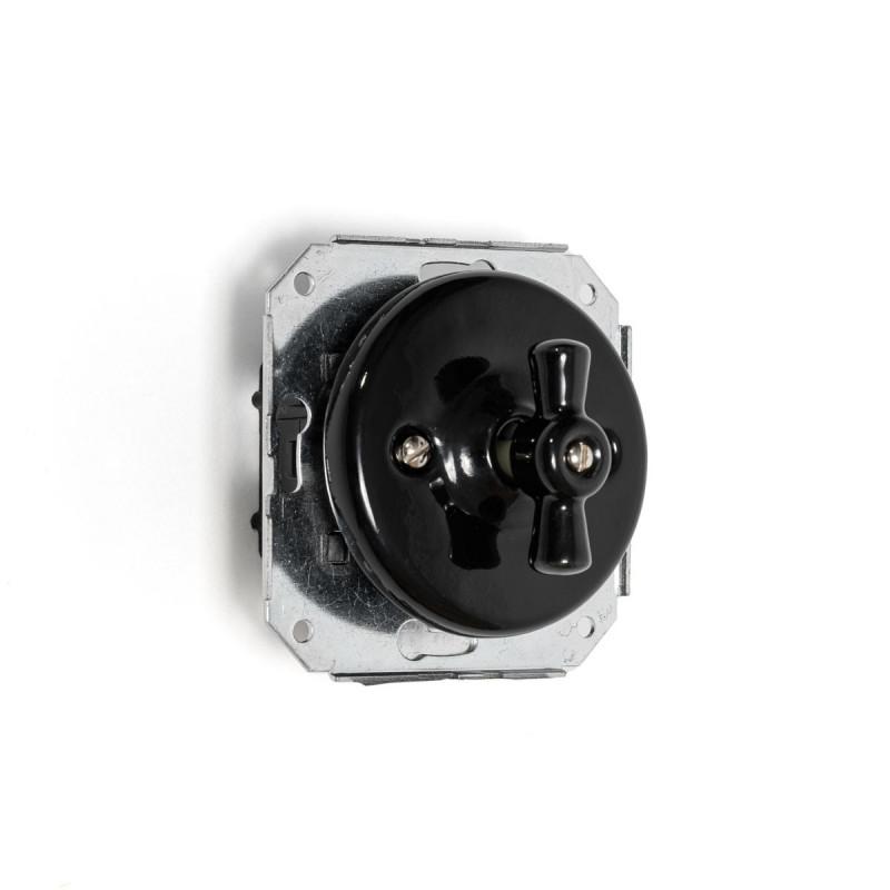 Rustic ceramic recessed light switch single, retro style - black Kolorowe Kable