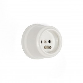 Rustic ceramic French surface mounted retro socket - white Kolorowe Kable