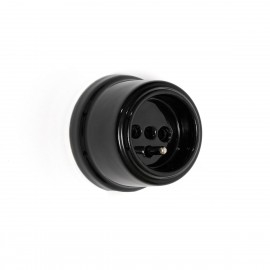 Rustic ceramic French surface mounted retro socket - black Kolorowe Kable