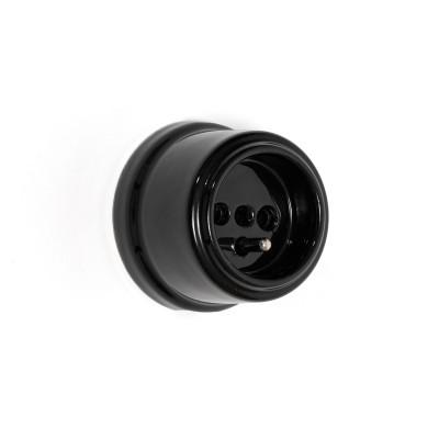 Rustykalne ceramiczne gniazdo natynkowe z bolcem uziemiającym typu French w stylu retro - czarne Kolorowe Kable