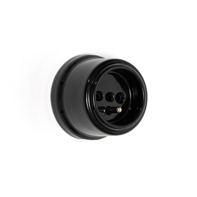 Rustic ceramic French surface mounted retro socket - black Kolorowe Kable