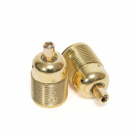 Metal gold bulb holder E27 with long thread and gold cable lock Kolorowe Kable