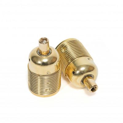 Metalowa złota oprawka żarówki E27 z długim gwintem i złotą blokadą przewodu Kolorowe Kable