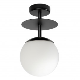 Black ceiling lamp PLAAT B black plafond with disk and glass shade UMMO