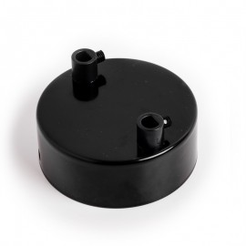 Metal ceiling cup lacquered in black - two cables