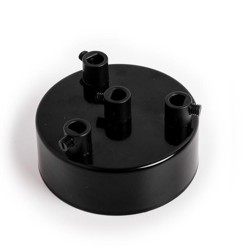Metalowa osłonka sufitowa lakierowana w kolorze czarnym - czterokablowa
