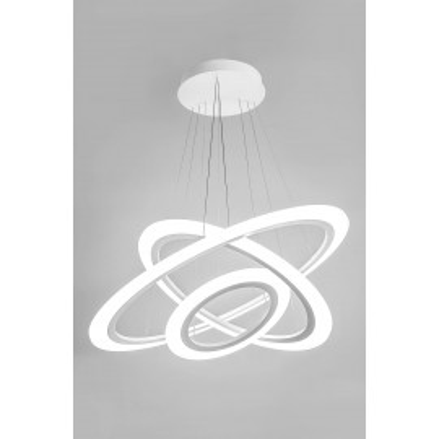 Lampa wisząca RING SATURN III P8356A-109W Led, białe pierścienie, metalowa OPRAWA, w stylu glamour Auhilon