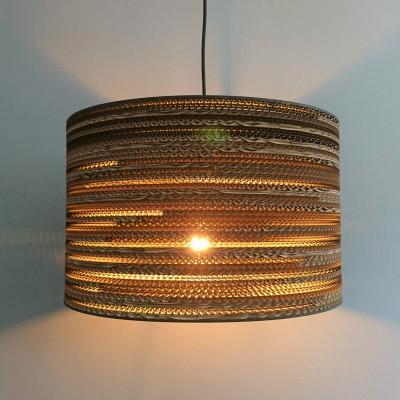 Cylindryczna lampa wisząca z tektury - TAMBURO 45 lampa ekologiczna SOOA