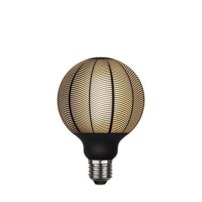 Lampa LED GRAPHIC mleczna żarówka dekoracyjna LED z czarnym wzorem jodełka G95 4W 2700K Star Trading