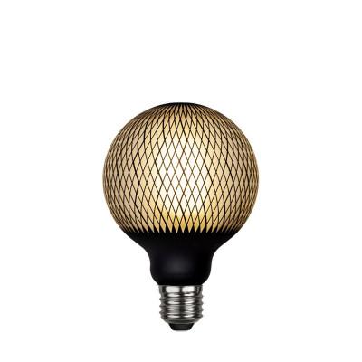 Lampa LED GRAPHIC mleczna żarówka dekoracyjna LED z czarnym wzorem diamenty G95 4W 2700K Star Trading