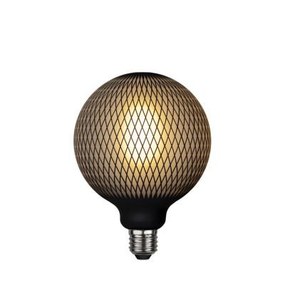 Lampa LED GRAPHIC mleczna żarówka dekoracyjna LED z czarnym wzorem diamenty G125 4W 2700K Star Trading