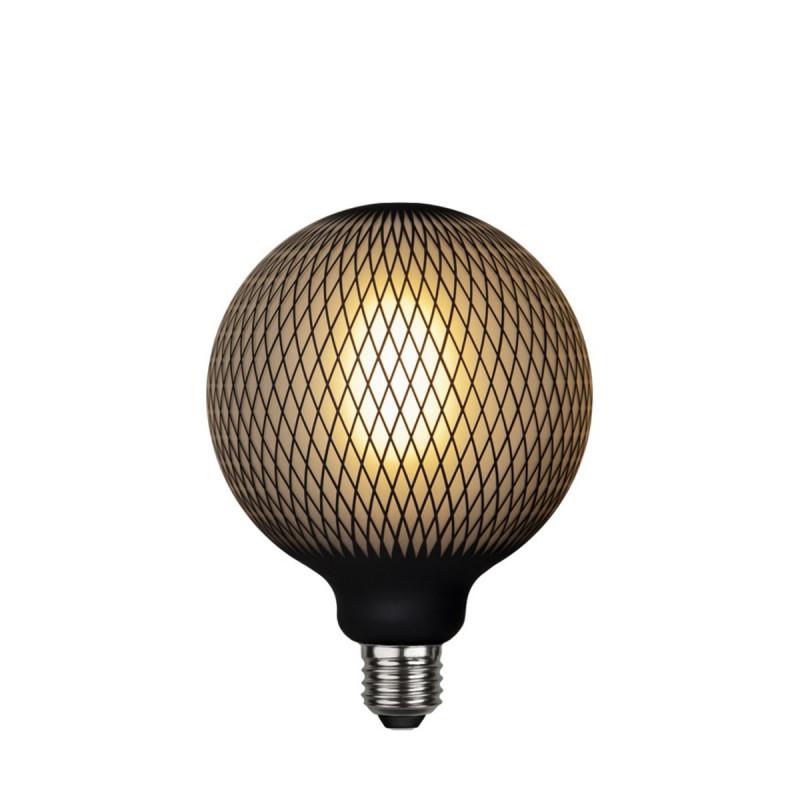 LED GRAPHIC lamp milky decorative LED bulb with black diamond pattern G125 4W 2700K Star Trading