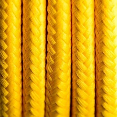 Żółty kabel w oplocie poliestrowym 01 hiszpańska cytryna dwużyłowy 2x0.75 Kolorowe Kable