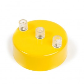 Metal ceiling cup lacquered in yellow - three cables