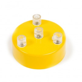 Metal ceiling cup lacquered in yellow - four cables
