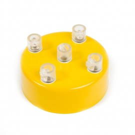 Metal ceiling cup lacquered in yellow - five cables