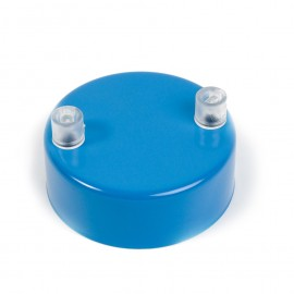 Metal ceiling cup lacquered in blue - two cables