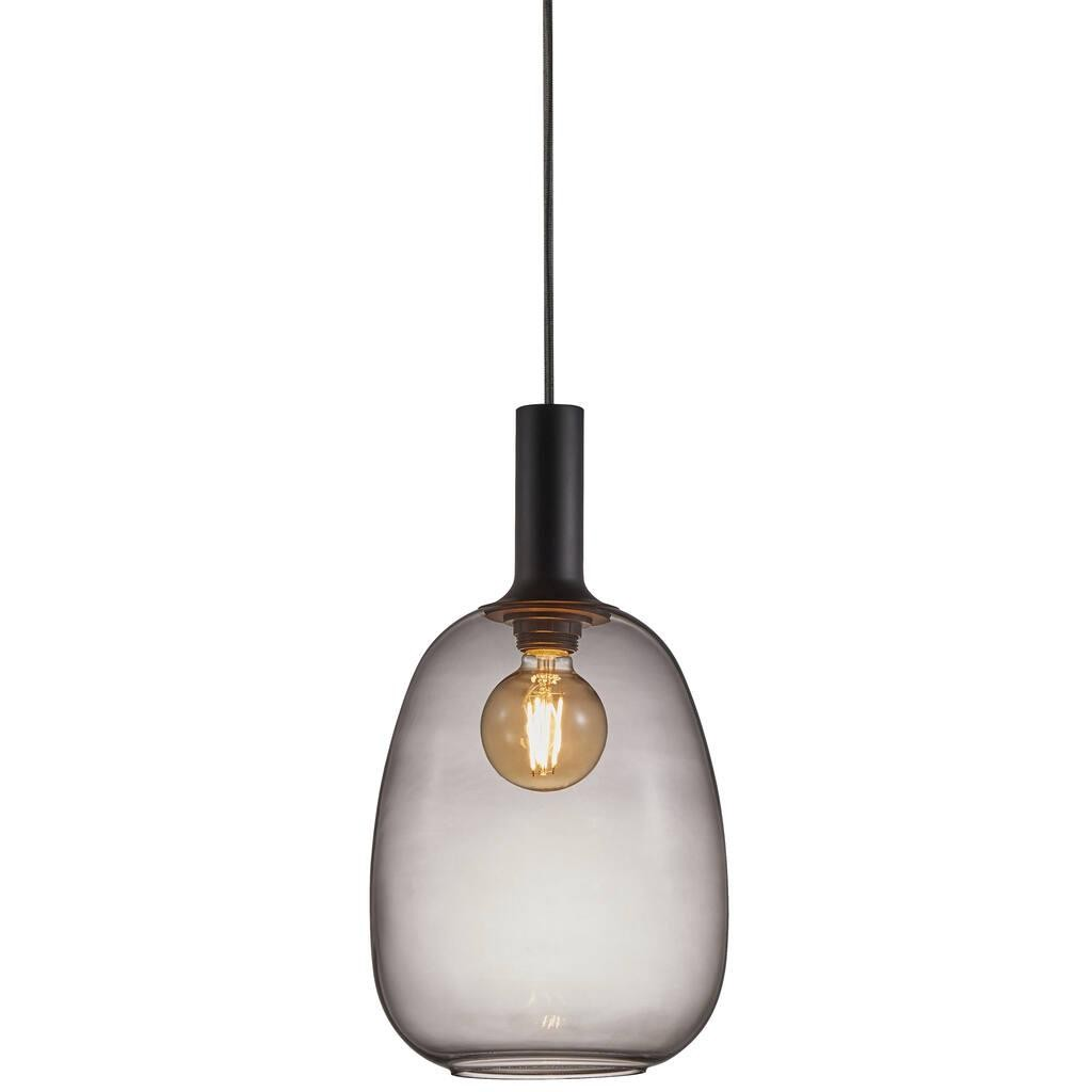 Hanging Ceiling Lamp Alton 23 E27 60w 23cm Black Smokedy Glass 47303047 Nordlux