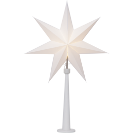 STANDING STAR lamp PAINT SNOW 243-24 wooden base, white, 54cm STAR TRADING