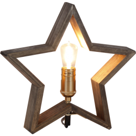 Lamp STAR TABLE WOOD LYSEKIL 257-33 brown, 28cm, 25WSTAR TRADING