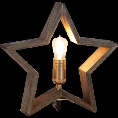Lampa GWIAZDA STOŁOWA DREWNO LYSEKIL 257-33 brązowa, 28cm, 25WSTAR TRADING