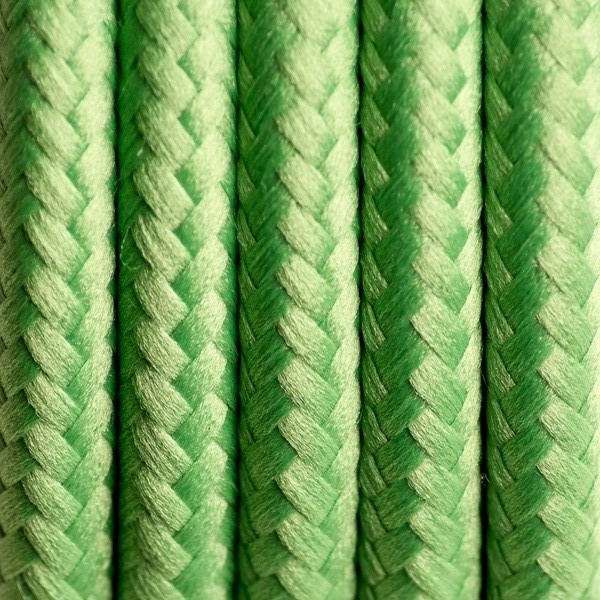 Round Electric Cable Covered By Polyester 09 Green Clover 2x075