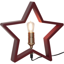 Lamp STAR TABLE WOOD LYSEKIL 257-35 red, 28,5cm, 25W STAR TRADING