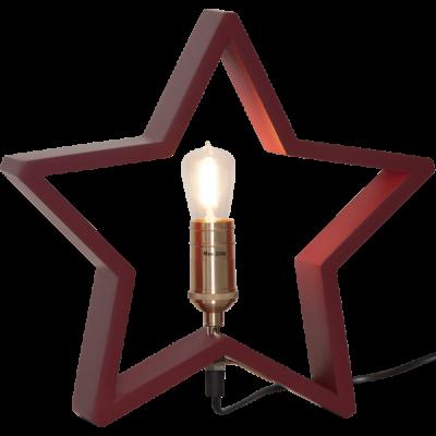 Lampa GWIAZDA STOŁOWA DREWNO LYSEKIL 257-35 czerwona, 28cm, 25W STAR TRADING