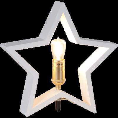 Lampa GWIAZDA STOŁOWA DREWNO LYSEKIL 257-01 biała, 40W, 48cm STAR TRADING