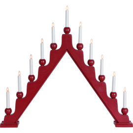 Lamp Candlestick STELLAN 229-45 E10 wooden, red STAR TRADING