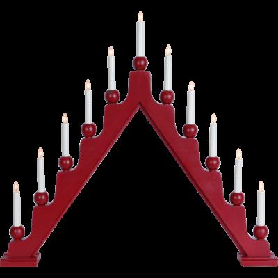 Lampa ŚWIECZNIK STELLAN 229-45 E10 drewniany, czerwony STAR TRADING