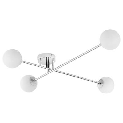Ceiling lamp ASTRA 4 lampshades white balls chrome frame KASPA