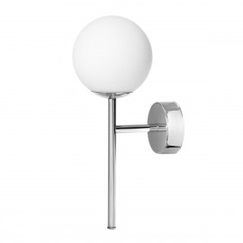 Wall lamp, sconce ASTRA DECO KINKIET white sphere lampshade details chrome KASPA