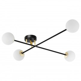 Ceiling lamp ASTRA 4 lampshades white balls black frame KASPA