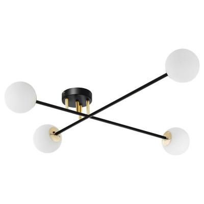 Lampa przysufitowa ASTRA 4 klosze kule białe stelaż czarny KASPA
