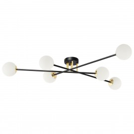Ceiling lamp ASTRA 6 lampshades white balls black frame KASPA