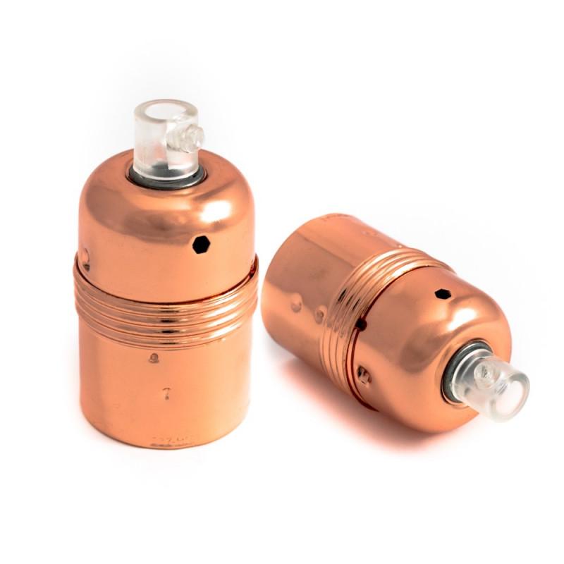 Metal lamp holder E27 in copper color